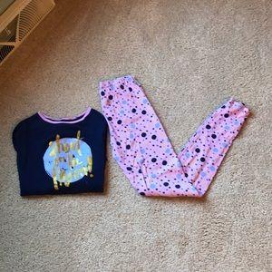 OshKosh girls 2pc pajamas - moons & stars size 14
